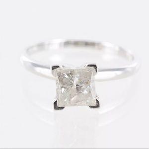 1.50 CTW Princess Cut 14K Gold Engagement Ring